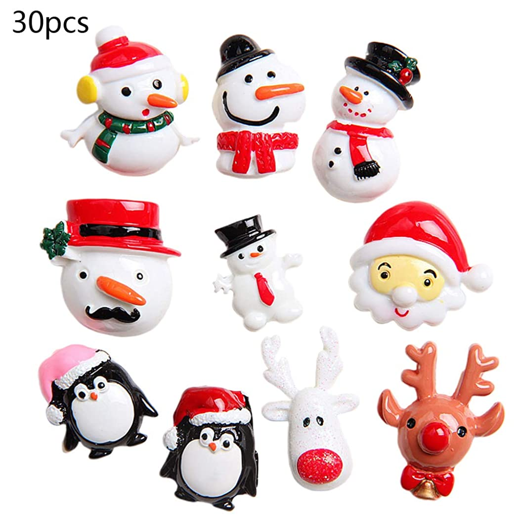 個人結晶ラウズ30ピース/バッグDIY樹脂雪だるまクリスマスツリーパターン電話冷蔵庫装飾用アクセサリーフェスティバルギフト装飾用品ランダムワンサイズ