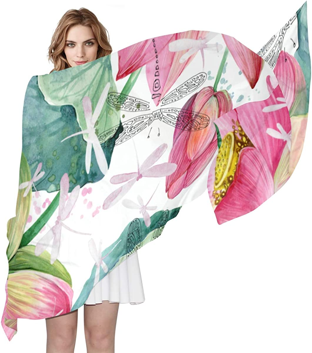 Beautiful Blooming Lotus Unique Fashion Scarf For Women Lightweight Fashion Fall Winter Print Scarves Shawl Wraps Gifts For Early Spring