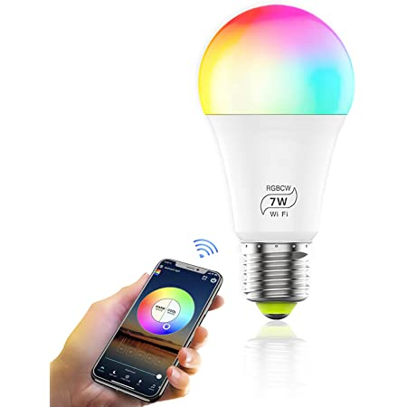 AC100-240V 10W E26 GUYUE Bombilla inteligente WiFi E27 RGB WIFI Bombilla LED inteligente L/ámpara de control de voz remota Funciona con  Alexa Google Home