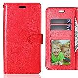 LEMORRY Handyhülle für Lenovo Vibe X3 Hülle Tasche Geprägter Ledertasche Beutel Schutz Magnetisch Schließung SchutzHülle Weich Silikon Cover Schale für Lenovo Vibe X3, Bilderrahmen Rot