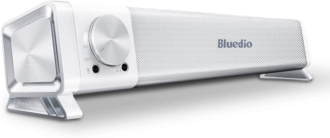 Bluedio LS Computer Speaker, Stereo USB Powered Mini Soundbar Aux-in Wired Sound Bar&Wireless Bluetooth 5.0 with 7.1 Channel Sound Card Driver Strong Bass for PC, Gaming and Tablets