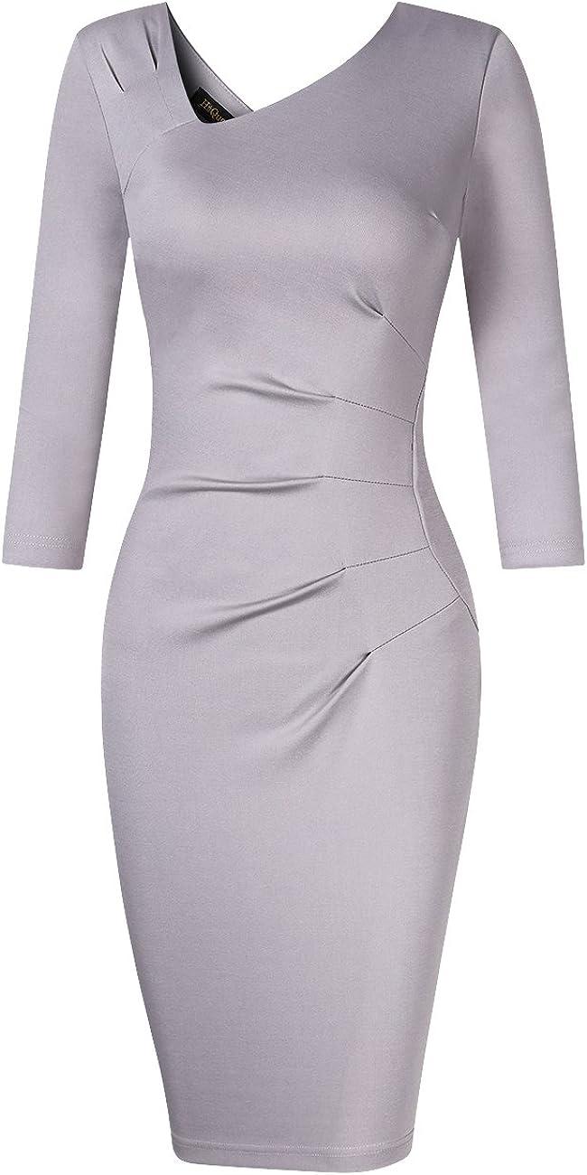 HiQueen Womens Elegant Patchwork Wear to Work Party Slim Bodycon Dress