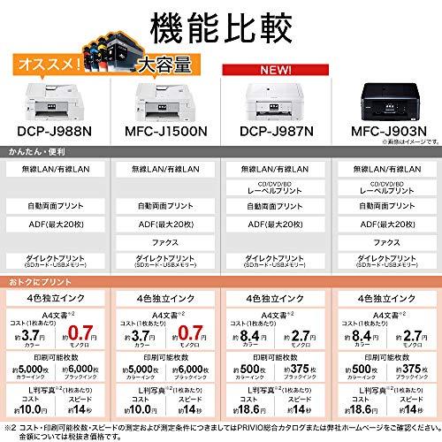 ブラザープリンターA4インクジェット複合機DCP-J987N-W(ホワイト/Wi-Fi対応/ADF/自動両面印刷/スマホ・タブレット接続/レーベル印刷/2020年モデル)