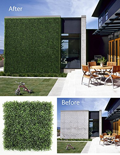 ULAND Artificial Boxwood Panels Hedges & Screens for Terraces, Balconies, Roof Decks, Pool Surrounds and Patios, Background Walls for Weddings or Party, 6 Pieces 20' x 20' Dark Green …