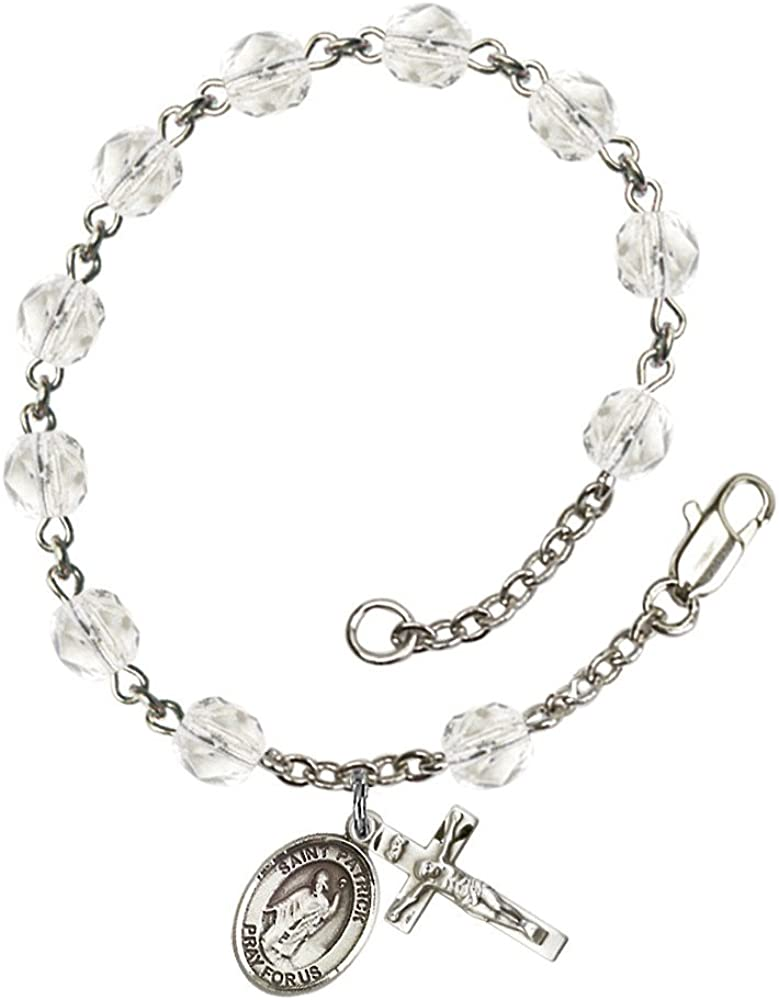 Every Birth Month Color Patrick Silver Plate Rosary Bracelet 6mm Fire Polished Beads Bonyak Jewelry St