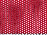 A partire da 1 m: jersey di cotone, pois bianchi su rosso, larghezza 150-155 cm