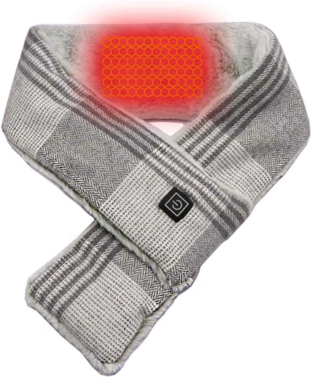 Heated Scarf, USB Heat Shawl Electric Warm Neck Wrap with 3000mAh Powerbank【Pale Grey】