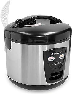 Navaris Arrocera de 1.2 litros con función para Mantener Calor - Hervidor arroz 6 Personas - con Cuchara Vaso medidor y Cesta para Vapor - Plateada