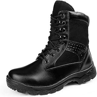 أحذية ركوب الترفيه للماء Ankle Boots for Men Casual Hiking Boots Military Genuine Leather High Top Buckle Lace up Split Jo...