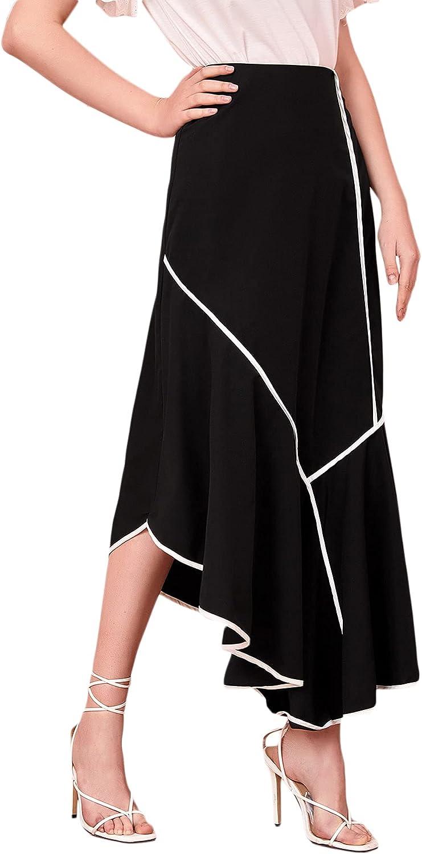 SweatyRocks Women's High Waist Contrast Trim Asymmetrical Hem A Line Midi Skirt