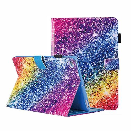 Custodia per iPad Mini 4, Mini 3 / Mini 2 / Mini Cover Bling Glitter Colorato Pittura PU Pelle Flip Stand Inteligente Custodia [Auto Svegliati/Sonno] per Apple iPad Mini 1/2/3/4,Arcobaleno Diamante