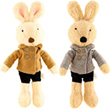 JIARU Toys Easter Bunny Plush Stuffed Animals Rabbits with Removable Clothes Pack of 2 (Style 1)