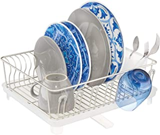 mDesign Large Metal Wire Kitchen Countertop, Sink Dish Drying Rack - Removable Plastic Cutlery Tray, Drainboard with Adjustable Swivel Spout - 3 Pieces - Satin/Clear Frost