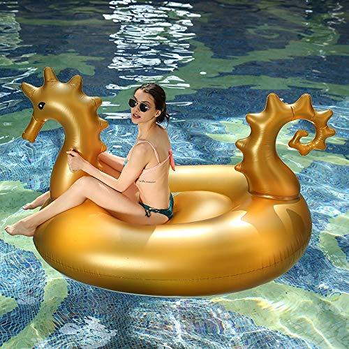 Zcm Schwimmring 180cm Riesen Gold-Sea Horse Sea Horse Gaint Pool Float Unicorn Matratze Sunbathe Mat Pegasus Schwimmen Ring-Kreis-Strand-Wasserspielzeug