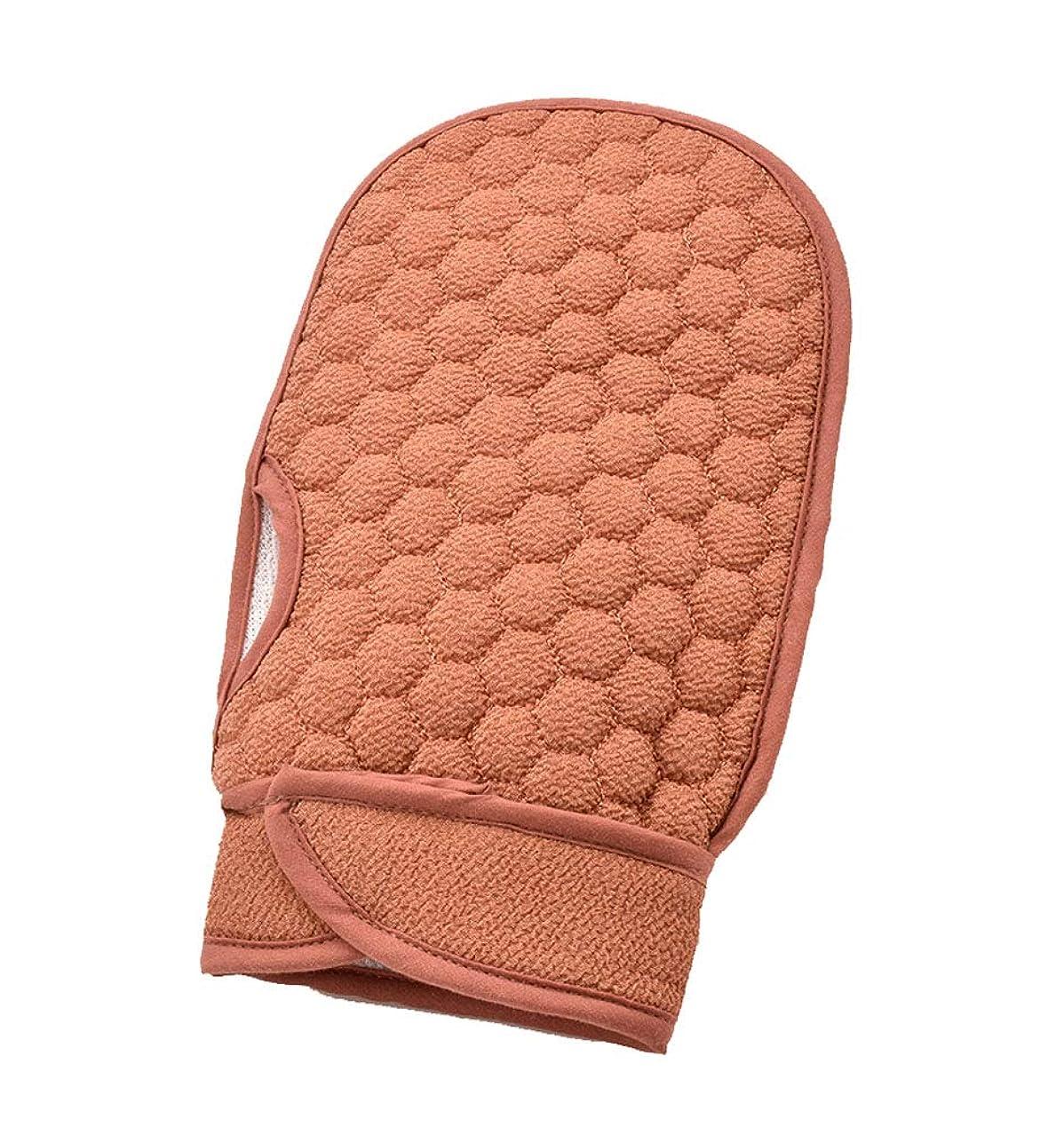 打ち負かすアプトコントラストブラウン入浴手袋、エクスフォリエイティングバスブラシ