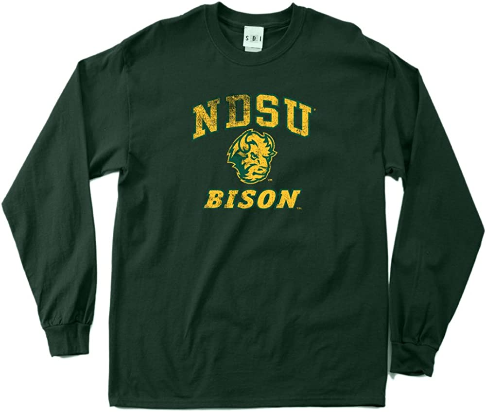 NCAA North Dakota State Bison 100-Percent Pre-Shrunk Vintage Mascot Long Sleeve Tee