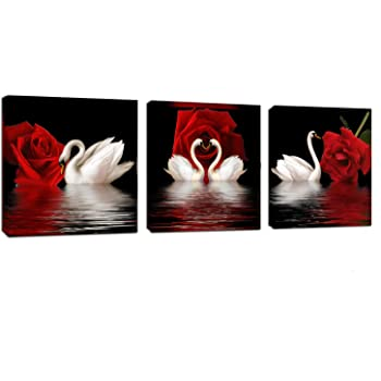 Amazon Com Amoy Art 3 Panels Beautiful Romantic Swans Art Print On Canvas Red Rose Flowers Wall Art Decor Stretched Frames For Bedroom Bathroom Ready To Hang Posters Prints
