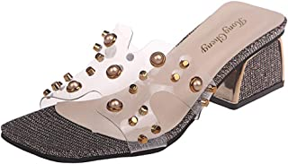 Cosplay-X Women's Open Toe Chunky Block Heel Slippers Slide Sandals Rivets Mules Shoes Casual Heeled for Summer