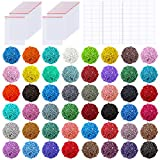 PP OPOUNT 48 Colors Diamond Painting Replacement Square Diamonds with 60 Pieces Self-Seal Bags and 3 Sheets 120 Tags Label Paper for Missing Drills of Diamond Cross Stitch