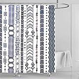 Tribal Duschvorhang Pfeil gestreift geometrischer Druck Landhausstil Duschvorhang Zuhause Badezimmer wasserdicht Dekor mit 12 Duschhaken 183 x 183 cm