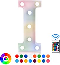 ZRO LED Letter Lights 16 Colors-Changing, 3D Night Lamp 26 Alphabet A-Z LED Marquee Sign with Remote Control for Christmas Decor Birthday Party Home Wall Hanging Bedroom Bar Decor (I)