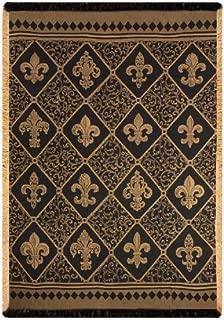 Manual Damask Throw, Fleur De Lis, Gold, 50 by 60-Inch