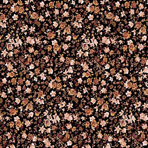 Jersey Stoff mit Blumen Minimal Print Senf/Schwarz als Meterware zum Nähen - GOTS zertifiziert, 50 cm