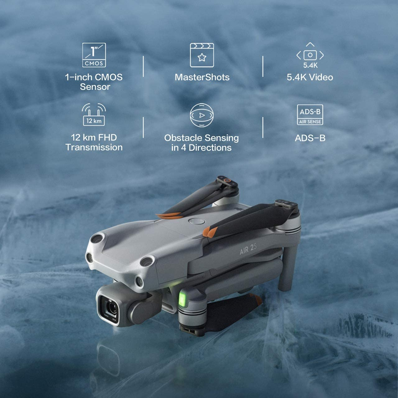DJI Air 2S Drone - Folded, above showing main features