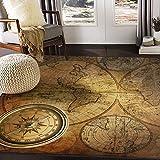 ALAZA Vintage Compass World Map Artwork Area Rug Rugs for Living Room Bedroom 7' x 5'