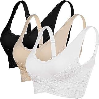 Sfit Sujetador Deportivo Encaje Mujer 2/3pack Sujetadores Ajustable Bra Transpirable Confort Deporte Sin Costuras con Hebi...