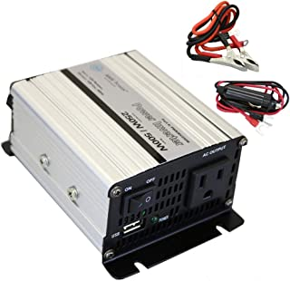 AIMS Power PWRINV250W 250W Power Inverter with Battery Cables, 250W Continuous Power, 500W Surge Peak Power, Modified Sine Wave, AC receptacle, USB Charging Port