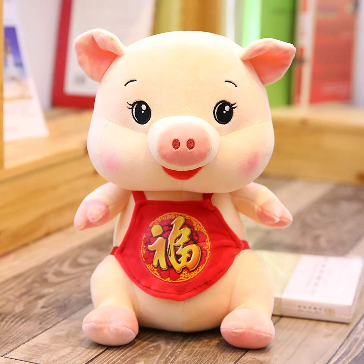 DONGER Pig Year Mascot Doll Piggy Toy New Year Gift Red Zodiac Doll, Beige, 65Cm