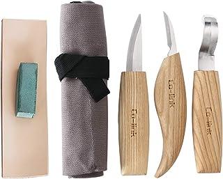 Cuchillo de Gancho de Talla de Madera para tallar cucharas Tazones Kuksa y Tazas, Herramientas de Tallado de Cuchara para diestrus Viene con un Compuesto de Pulido de Cuero y una Bolsa de Tela