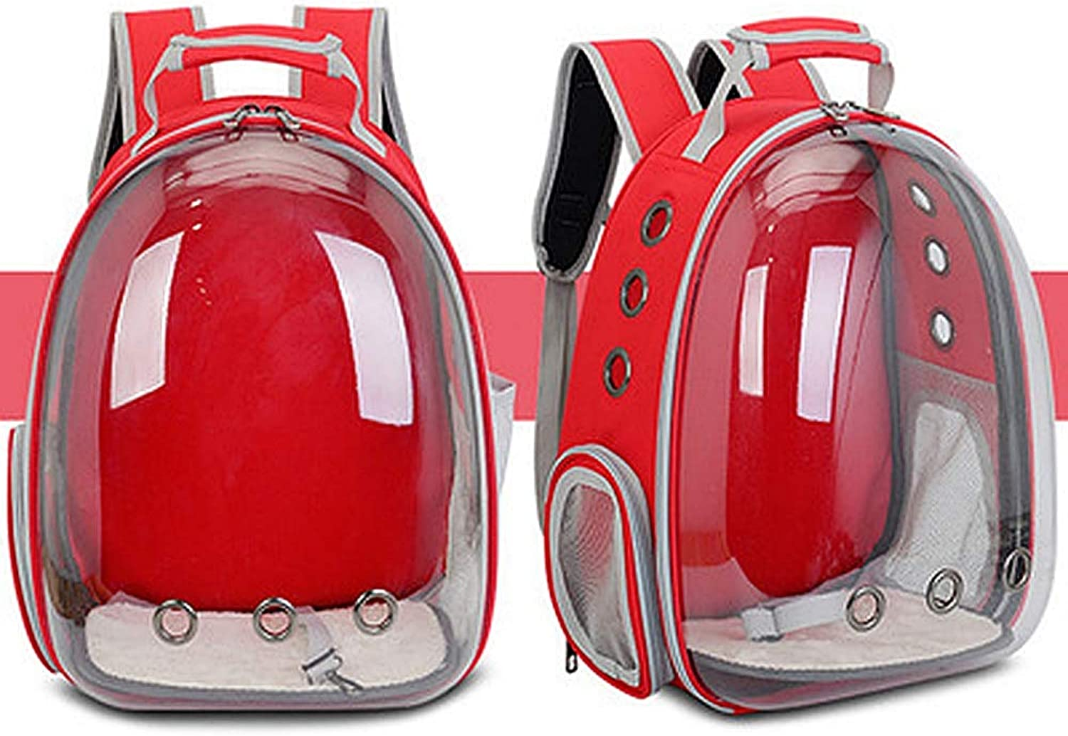 Cat Outdoor Carrying Bubble Backpack, Small Dog Waterproof with Space Clear Vision Breathable Puppy Travel Hiking Camping,Red