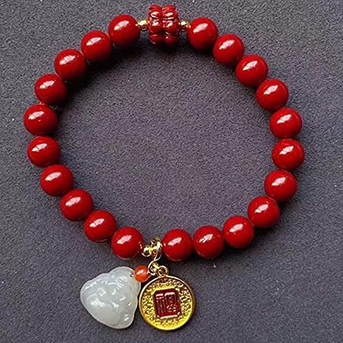 Pulsera Feng Shui Bead Feng Shui Riqueza Pulsera de Piedras Preciosas Pulsera Natural Cinnabar Hetian Jade Risa Buda Cinnabar Lotus FU Pulsera de la Marca Pulsera Estiramiento Amuleto Atrae la suert
