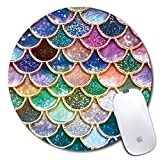 Personalized Round Mouse Pad, Printed Colorful Scale Pattern, Non-Slip Rubber Comfortable Customized Computer Mouse Pad (7.87x7.87inch)