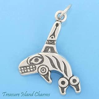 Northwest Alaskan Native American Killer Whale Orca .925 Sterling Silver Charm Pendant Bracelet Jewelry
