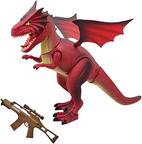 GIKMHYB Kinderspielzeug-Dinosaurier-Fernsteuerungssimulationsmodellbeleuchtungs-Soundeffekt Tyrannosaurus Rex,rot