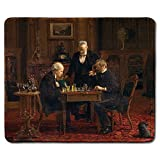dealzEpic - Art Mousepad - Natural Rubber Mouse Pad with Famous Fine Art Painting of The Chess Players by Thomas Eakins - Stitched Edges - 9.5x7.9 inches