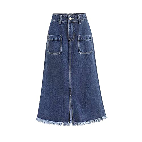 a03960c1863 Women s High Waist A Line Denim Skirt Split Fringe Hem Midi Jean Skirt