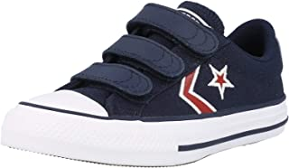 Converse Star Player 2V Ox Embroidered Bleu/Rouge (Obsidian/University Red) Toile Bambin Formateurs Chaussures