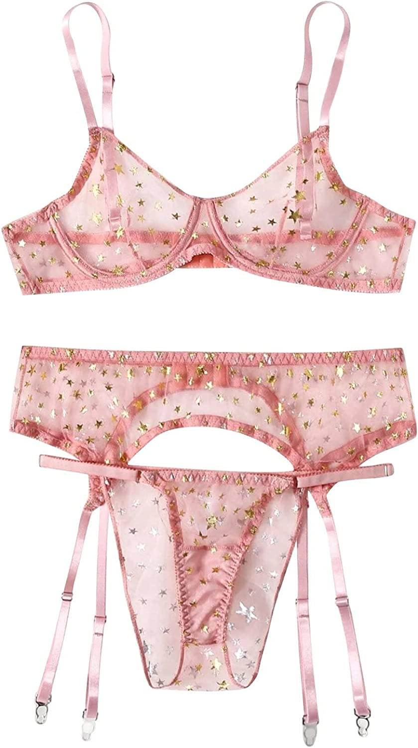 Lovor Women's Embroidered Floral Sheer Mesh Underwire Bra and Panty Lingerie Set Scalloped Trim Wireless Panty Lingerie Set