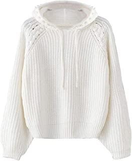 Women Hooded Sweater Loose Long Sleeve Knitted Pullover Tops Casual Jumper New Coat Knitwear Blouse