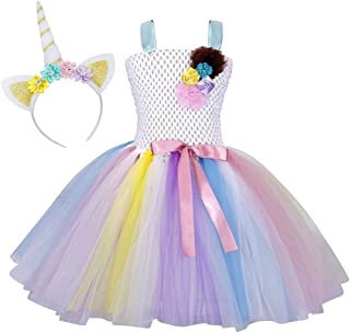 Rainbow Unicorn Tutu Dress Girls Princess Halloween Costumes Outfits with Headband