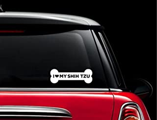 CCI I Love My Shih Tzu Dog Bone Decal Vinyl Sticker|Cars Trucks Vans Walls Laptop| White |7.5 x 3 in|CCI677