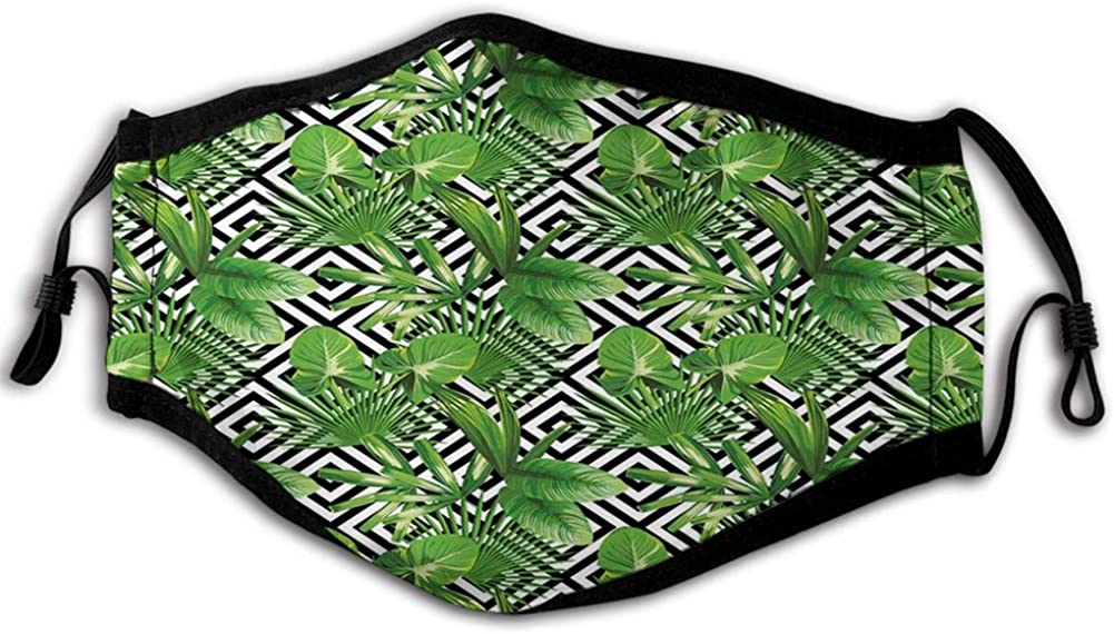 Coconut Palm Tree on Modern Abstract Backdrop Rainforest Design Mouth Cover for Women,Face Mask Reusable Washable Cloth for Men