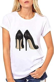 iPOGP Women Summer Fashion Cotton T-Shirt High Heels Print Short Sleeve Round Neck Simple Blouse Tops 2019