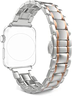 Correa para Apple Watch Series 2/1, Rosa Schleife iWatch WristBand Reemplazo de Banda Smart Watch Band de Reloj de Acero I...