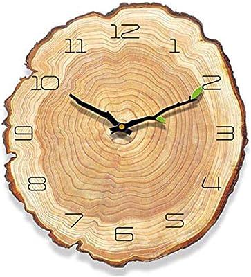 Saytay 掛け時計 掛け時計おしゃれ クリエイティブ・クロック 年輪時計 木製 連続秒針 かわいい インテリア プレゼント (30*28*0.6cm)