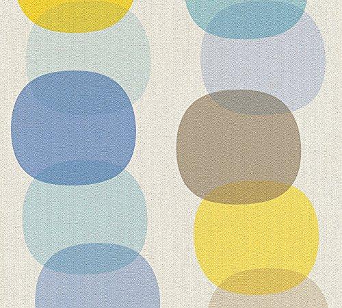 A.S. Création Vliestapete Pop Colors Tapete im Retro Design Retrotapete 70er Jahre Style 10,05 m x 0,53 m blau braun gelb Made in Germany 355901 35590-1